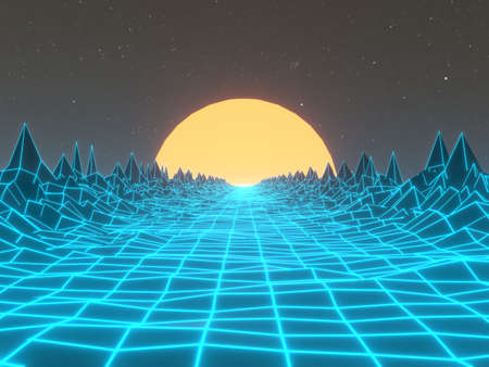 Digital 80s abstract background. Retro dance party background. Futuristic cyber landscape. 3D rendering images