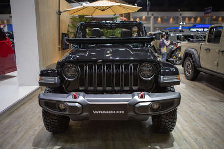 Bangkok, Thailand - April 4, 2021: Jeep Wrangler Rubicon exhibited in BANGKOK INTERNATIONAL MOTOR SHOW 2021