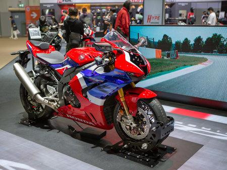 Bangkok, Thailand - April 4, 2021: Honda CBR 1000RR Fireblade exhibited in BANGKOK INTERNATIONAL MOTOR SHOW 2021