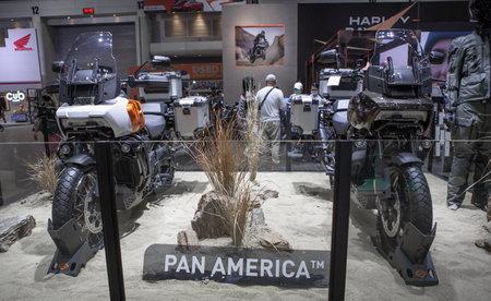 Bangkok, Thailand - April 4, 2021: Harley Davidson PAN AMERICA exhibited in BANGKOK INTERNATIONAL MOTOR SHOW 2021