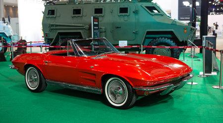 Bangkok, Thailand - April 4, 2021: Vintage car Corvette Sting Ray 1964 exhibited in BANGKOK INTERNATIONAL MOTOR SHOW 2021