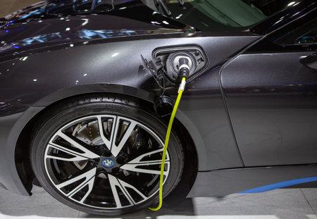 Bangkok, Thailand - April 4, 2021: BMW Electric car EV charging socket exhibited in BANGKOK INTERNATIONAL MOTOR SHOW 2021 新聞圖片
