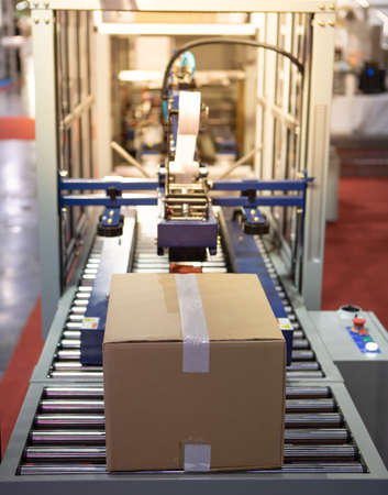 Carton on roller conveyor. Automatic carton tape sealing machine. Industrial logistics warehouse