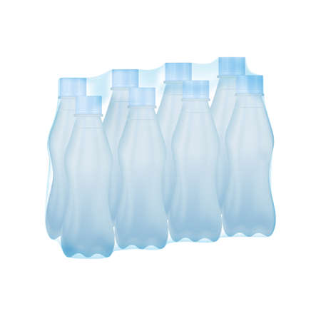 Packed of bottled water in plastic shrink wrapped package. Vector and illustration design