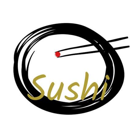Japan cuisine logo. Japanese food sushi chopstick with salmon egg on dish. Vector and illustrator design.