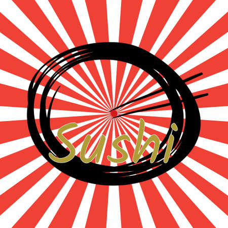 Japan cuisine logo. Japanese food sushi chopstick with salmon egg on dish with red strip sunburst background. Vector and illustrator design.