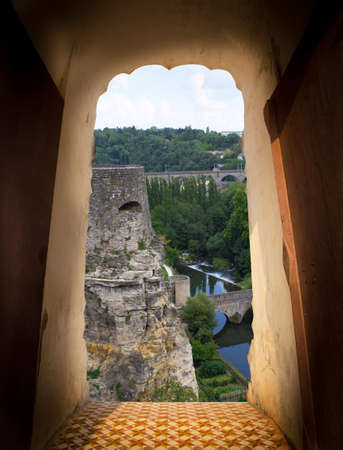 View from door of castle. Scenery view of Luxembourg city. Travel concept