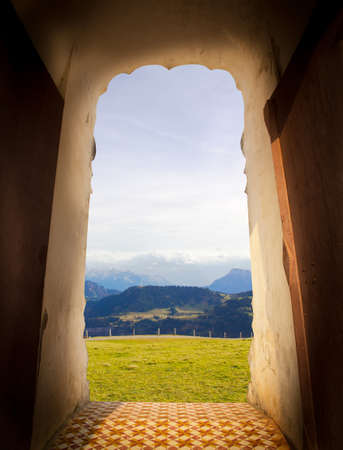 View from door of castle. Scenery view of countryside. Travel concept 版權商用圖片