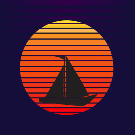 Vector of sailboat on sunset background. Sailing ship transportation silhouette company  illustration design