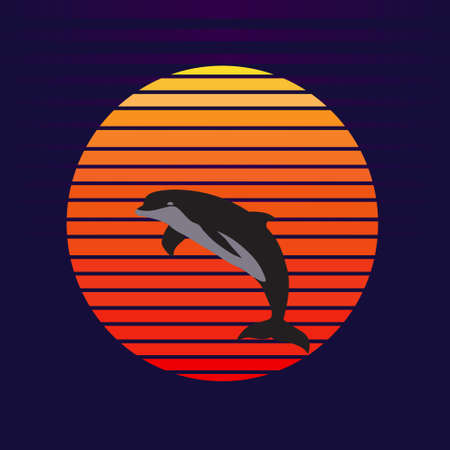 Vector of dolphin on sunset background. Dolphin jumping out of water company  illustration design