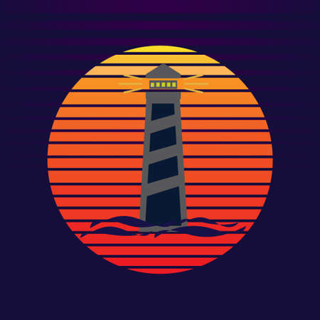 Vector of lighthouse on sea and sunset in background. Maritime navigation company  illustration design 向量圖像