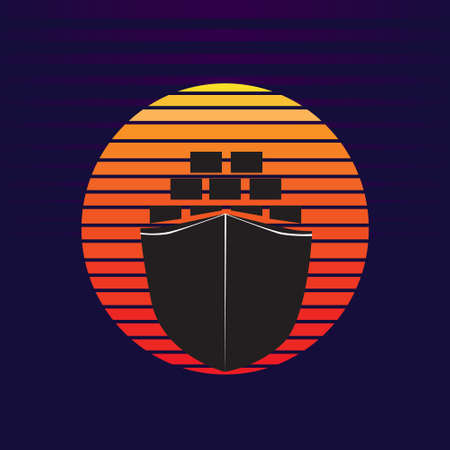Vector of cargo ship container on sea and sunset in background. Freight transportation company silhouette  illustration design 向量圖像