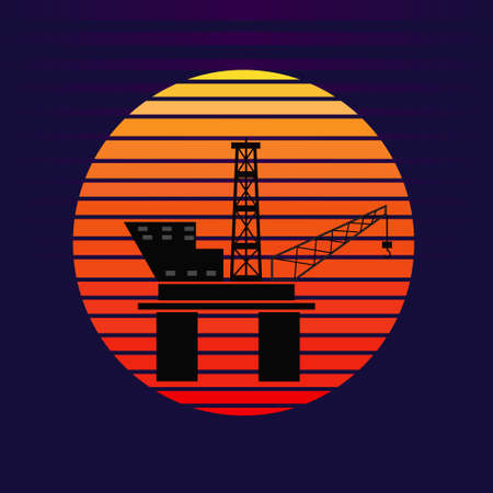 Vector of offshore oil platform on sunset background. Oil and gas company silhouette   illustration design 向量圖像