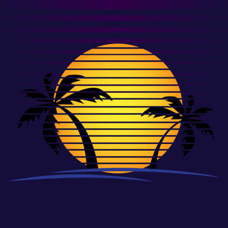 Vector of palm tree silhouettes on a gradient sunset. Retro style 80s  or icon illustration design 向量圖像