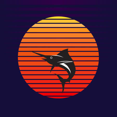 Vector of blue marlin fish on sunset background. Sail fish jumping out of water company  illustration design