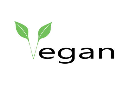 Vegan  template design. Green leaf icon with text on white background. 向量圖像