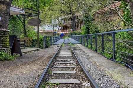 Diakofto - Kalavryta odontotos rack railway in Zachlorou, Peloponnese, Greece Banco de Imagens
