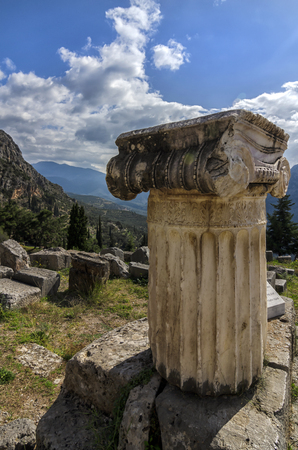 Ionic order column in archaeological site of Delphi in Greece