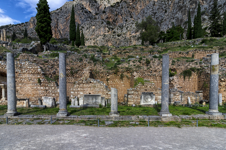Archaeological site of Delphi in Phocis, Greece Stock Photo