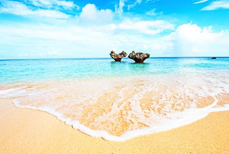 Heart rock and beautiful beach, Okinawa, Japan