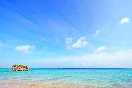 Blue sky and beautiful sea, Okinawa, Japan Stock Photo