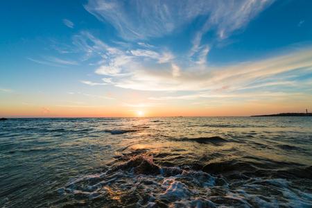 Sunset, sea, seascape. Okinawa, Japan, and Asia. Stock fotó