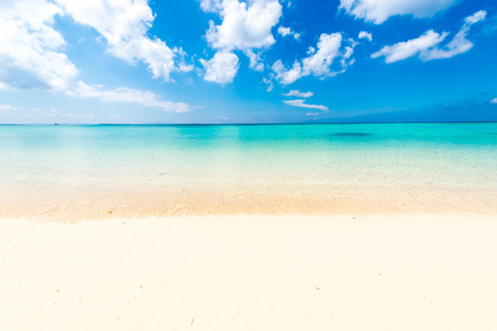 bright sky: Sea, beach, seascape. Okinawa, Japan, and Asia.