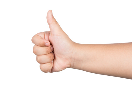 children hand with thumb up isolated on white background Stock Photo