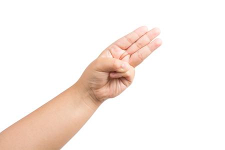 I bambini a mano mostrare tre dita isolato su sfondo bianco Archivio Fotografico - 60136150