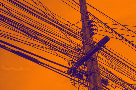 electricity generator: Electricity post on sunset sky Abstract