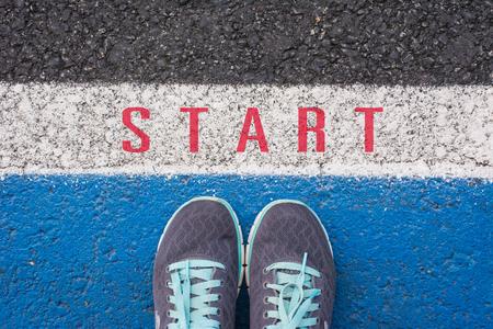 start line: Start a new career concept ,  shoes at start line