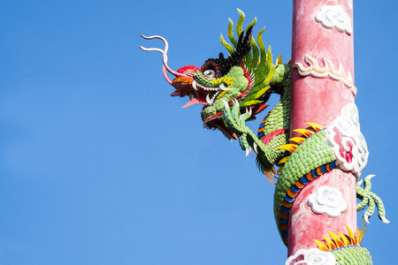 Chinese dragon wrapped around red pole photo
