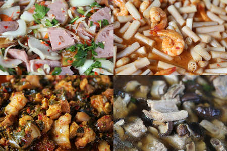 Thai food curry rice of Pork Curry with Garcinia Cowa Leaves, Sour soup with lotus stem and shrimps, Yum Chinese stuffed  pork leg and Pork ribs soup with fresh shiitake mushroom