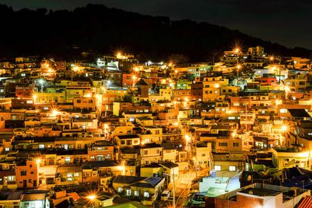 Night shot of Gamcheon Culture Village,Busan Редакционное