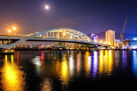 Night shot of Busandaegyo Bridge,Busan ,South Korea Редакционное