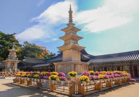 Pagoda at Bulguksa Temple in blue sky