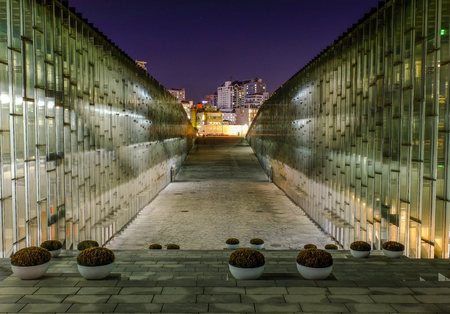 Seoul, South Korea - October 30, 2017. Night shot of modern building underground library of Ewha Womans University