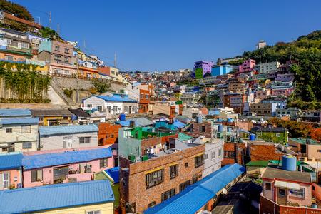 Gamcheon culture village in Busan city, South Korea. Famous place in Busan. Colorful village in Busan . Редакционное