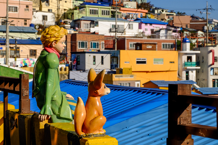 Check in point with little prince at  Gamcheon culture village in Busan city, South Korea. Famous place in Busan. Colorful village in Busan.