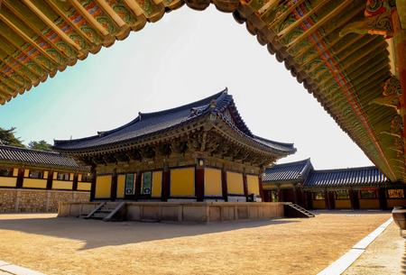 Daeungjeon Hall(main building of a traditional temple complex) of Bulguksa temple in Gyeongju, South Korea.