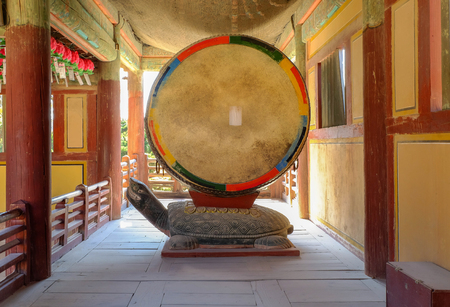 Traditional korean drum on turtle in Bulguksa Temple ,Geongju South Korea