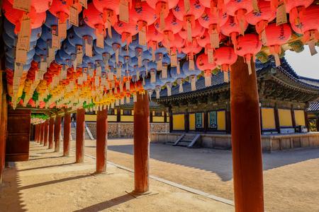 Hundreds of lanterns hanging out of the Bulguksa temple,World Heritage  , Geongju South Korea. Фото со стока