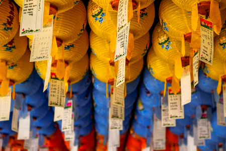 Hundreds of lanterns hanging out of the Bulguksa temple,