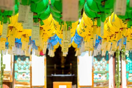Hundreds of lanterns hanging out of the Bulguksa temple,World Heritage  , Geongju South Korea. Редакционное