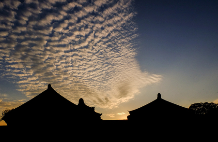 Silhouette traditional korean decor roof of village house In Palace, Geongjul, South Korea .Taken during sunset hours