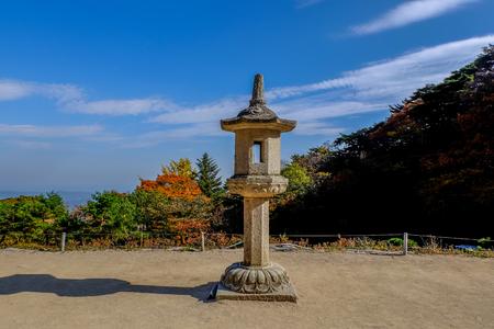 A stone lantern in Seokguram Grotto  , Gyeongju ,korea