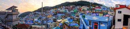 BUSAN,SOUTH KOREA NOVEMBER 2,2017: Panorama shot of Gamcheon Culture Village in twilight .The area is known for its brightly painted houses, which have been restored and enhanced in recent years to attract tourism