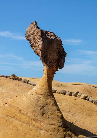 Queen Head Rock in Yehliu Geopark ,Taiwan .The unique geological formations.
