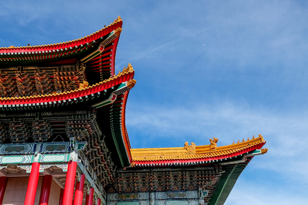 Closeup of colorful ornamental roof of National Concert Hall at CKS Memorial Hall in Taipei, Taiwan Фото со стока