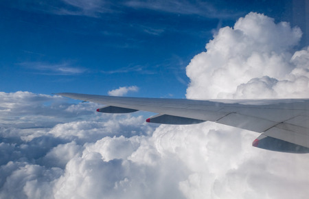 Beautiful view of clouds and sky from a plane window